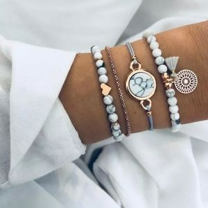 4 Piece Marble/Gold Bracelet Set